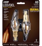 Feit Electric Vintage LED Chandelier Candelabra 40W Equivalent Dimmable Bulb, 2-pk | Feit Electric | Canadian Tire