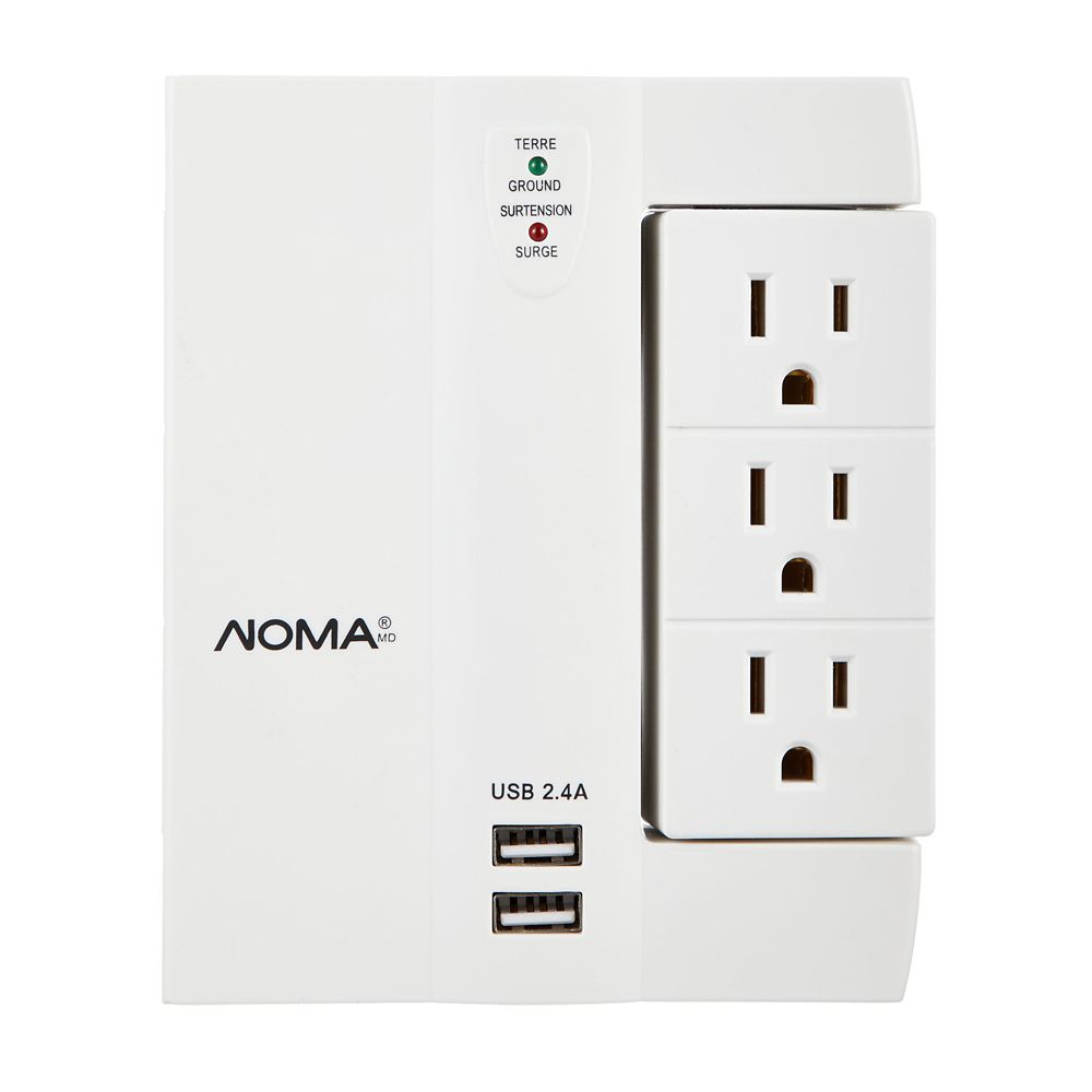 NOMA 6-Outlet Wall Block Surge Protector with 2-USB Outlets