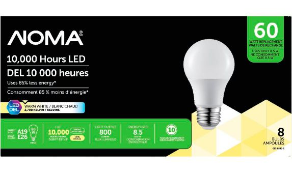 NOMA LED A19 60W Non-Dimmable Light Bulbs, Soft White, 8-pk