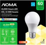 NOMA 60W A19 LED Lightbulbs,  Warm White, 2-pk | NOMAnull