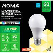 NOMA 60W A19 LED Lightbulbs,  Warm White, 2-pk