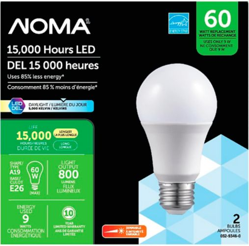 NOMA 60W A19 LED Lightbulbs, Daylight, 2-pk