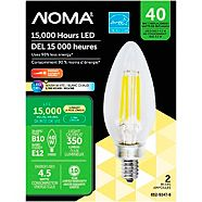 NOMA 40W E12 Soft White LED Light Bulbs, 2-pk