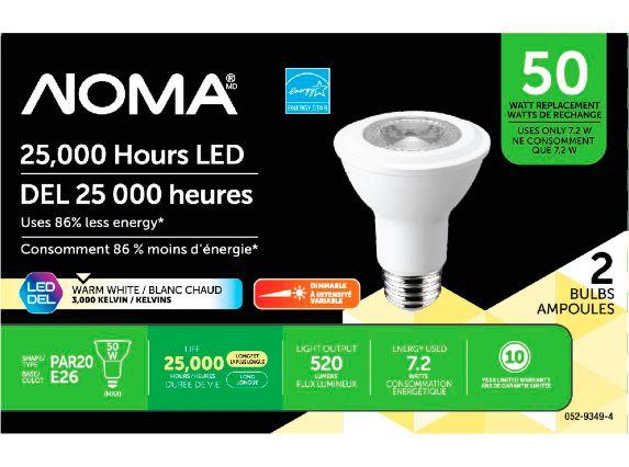 NOMA 50W PAR20 LED Light Bulbs, 2-pk Product image