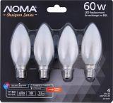 NOMA Designer Series LED Chandelier Frosted B10 60W Filament Light Bulb, 4-pk | NOMA | Canadian Tire