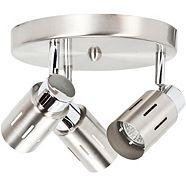 NOMA 3-Light Canopy Light, Brushed Steel & Chrome