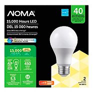 NOMA LED A19 40W Energy-Efficient Dimmable Warm White Bulb, 2-pk