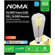 NOMA LED ST19 60W Dimmable Warm White Filament Light Bulb, 2-pk