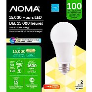 NOMA LED A19 100W Dimmable Warm White Bulb, 2-pk