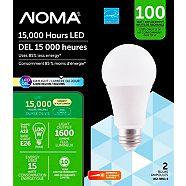 NOMA LED A19 100W Dimmable Daylight Light Bulb, 2-pk