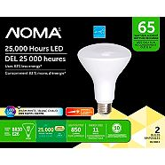 NOMA LED BR30 65W Dimmable Warm White Bulb, 2-pk
