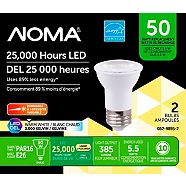 NOMA LED PAR16 50W Energy-Efficient Warm White Dimmable Light Bulb, 2-pk