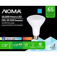 NOMA LED BR30 65W Dimmable Daylight Light Bulb, 2-pk