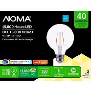 NOMA LED G25 40W Dimmable Clear Warm White Bulb, 2-pk