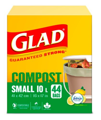 Glad 100% Compostable Bags - Small 10 Litres - Lemon Scent, 44 Compost Bags Product image
