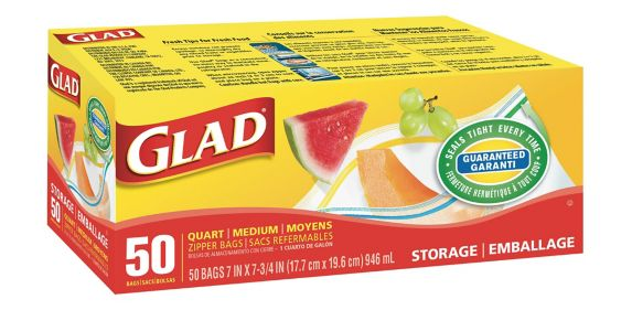Glad Medium Zipper Storage Bags, 50-count