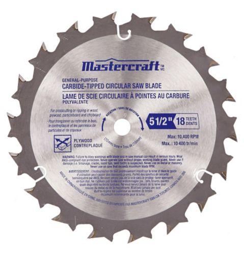 Lame de scie Mastercraft, 5 ½ po, 18 dents au carbure