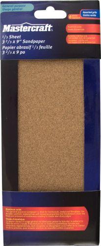 Papier abrasif en oxyde d'aluminium, choix varié, 3,3 x 9 po, paq. 6