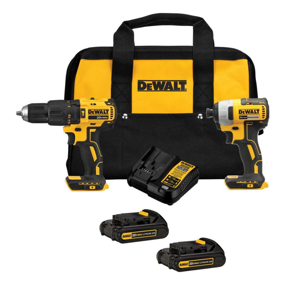 Dewalt DCK276C2 20V MAX Brushless Compact Cordless Hammer Drill & Impact Driver Combo Kit