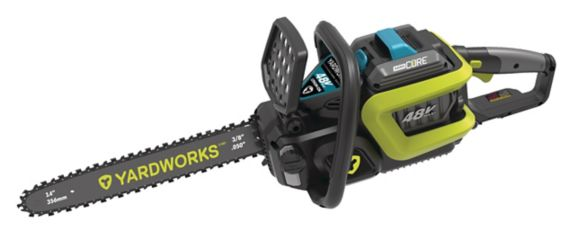 Yardworks 48V Brushless Chainsaw, 4Ah Battery, 14-in Product image