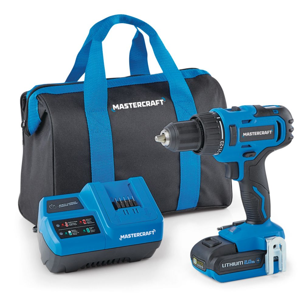 Mastercraft 20V Max Brushed 2-Speed Cordless Drill/Driver Kit, 1/2-in