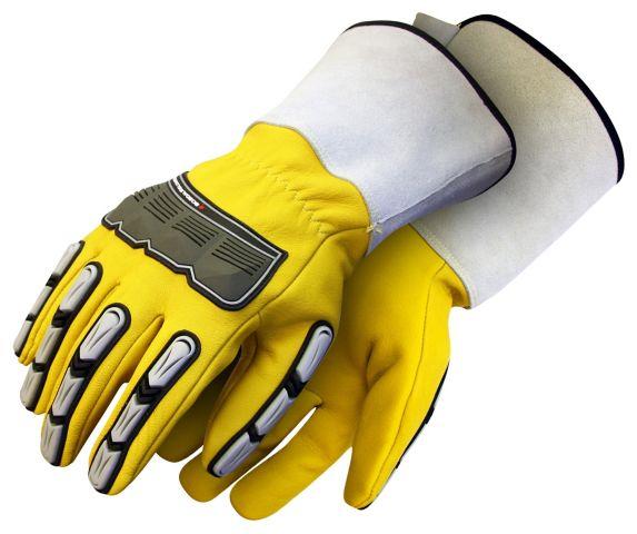Gants de travail BDG en cuir de chèvre avec manchette, jaune
