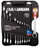 MAXIMUM SAE Double Ratcheting Combo, 12-pc | MAXIMUM | Get the job done more quickly with Maximum Double Racheting Wrenches. Each wrench has an open end and a box end with a spring-loaded racheting mechanism that le