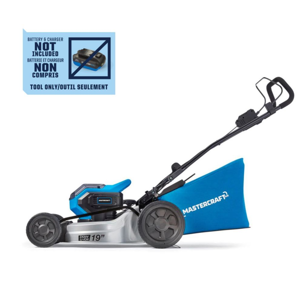 MasterCraft 2x20V Max Brushless Lawn Mower (Tool Only), 19-in