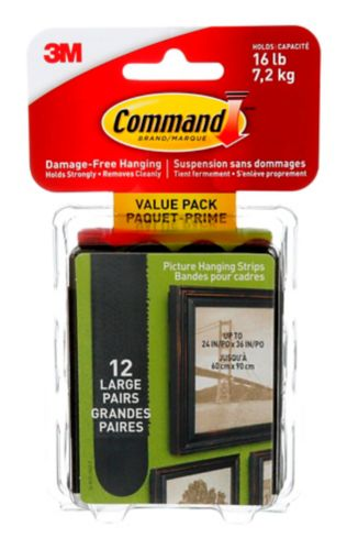 Command Large Picture Hanging Strips Value Pack, Black