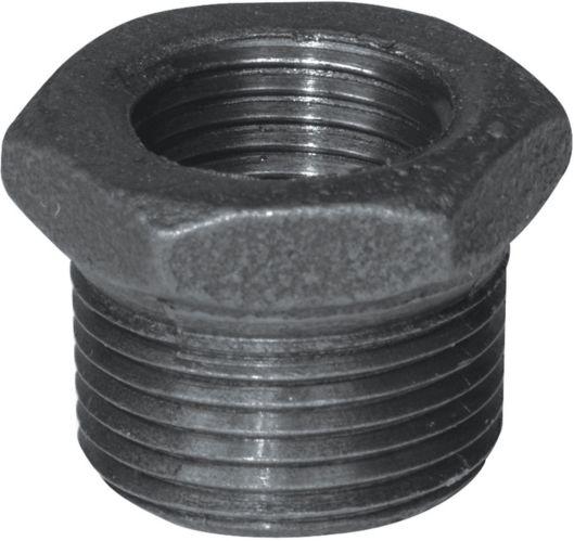 Raccord de tuyau galvanisé Aqua-Dynamic, noir, réducteur hexagonal en fer, 1 x 1/2 po Image de l'article