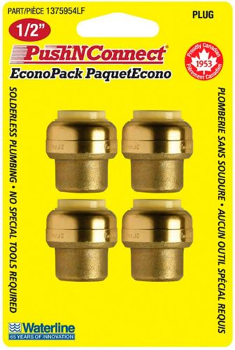 Waterline Push N' Connect Plug Set, 1/2-in, 4-pk Product image