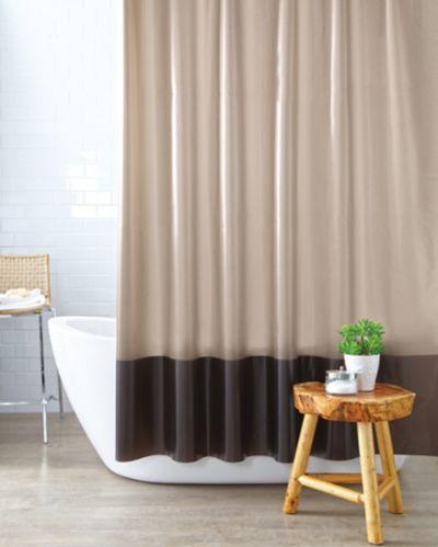 Rideau de douche en vinyle Cleanse, bandes, chocolat Image de l'article