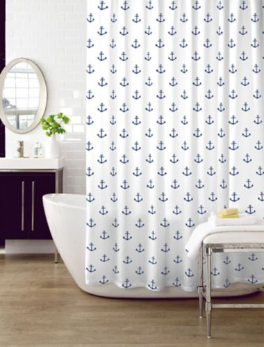 Cleanse  Anchor Shower Curtain, Blue Product image