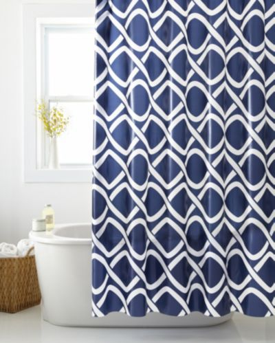 Cleanse Geo Waves Shower Curtain, Blue Product image