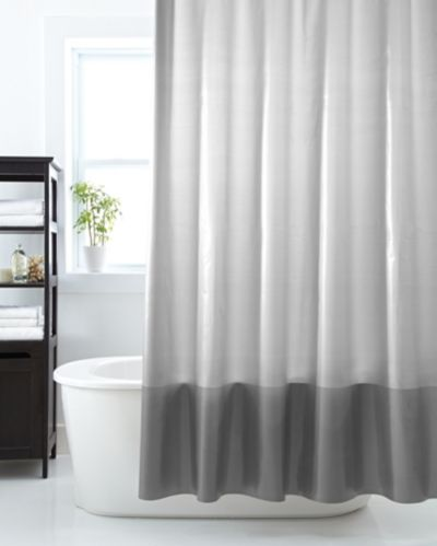 Cleanse Banded Vinyl Shower Curtain, Gunmetal Product image