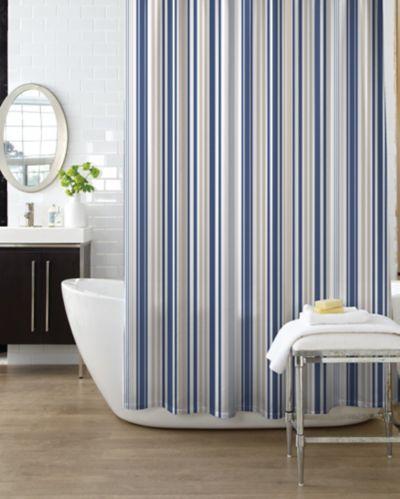 Rideau de douche Cleanse Oxford, rayures, bleu Image de l'article