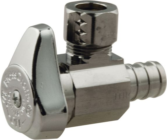 Angle Valve 1/2-in Nominal Crimp Pex Barb x 3/8-in Outside Diamater (OD) Compression Product image