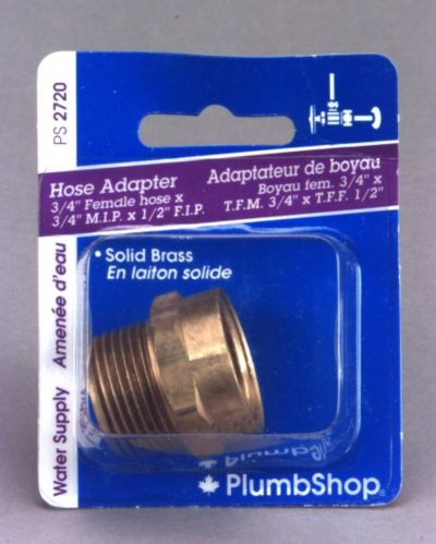 PlumbShop Hose Adapter, 3/4-in Female Hose x 3/4-in Male Hose  Product image