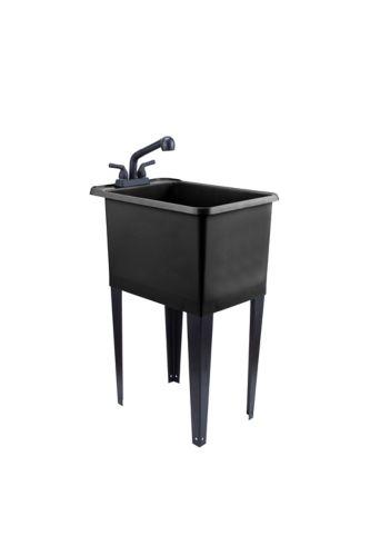 Cuve à lessive étroite avec robinet et pattes en acier Tehila, noir Image de l'article