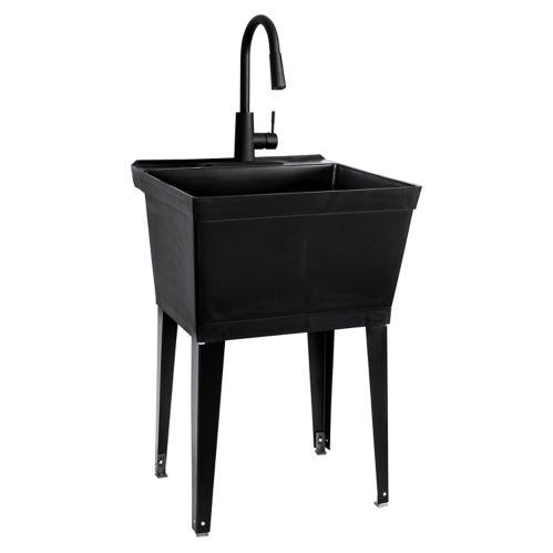 Tehila Standard Laundry Tub with Steel Legs & Faucet, Black Product image