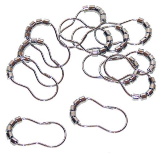 Crochets pour rideaux de douche à rouleaux, chrome Image de l'article