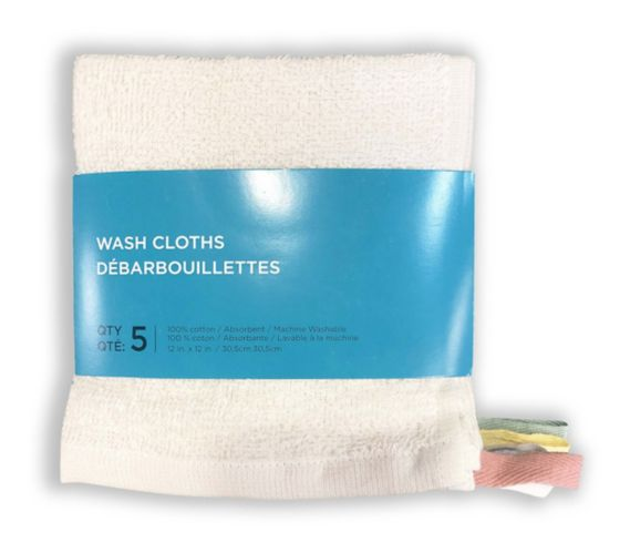Cotton Washcloths with Hanging Loops, 5-pk Product image