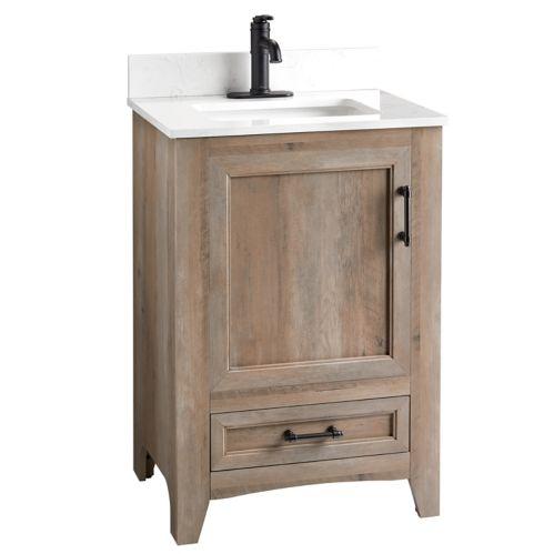 Meuble-lavabo CANVAS Wellington, 1 porte, chêne vieilli, 24 po Image de l'article