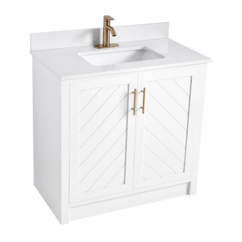 CANVAS Brooks Chevron Style 2-Door Bathroom Vanity, White, 30-in Product image