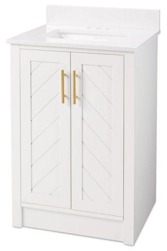 CANVAS Brooks Chevron Style 2-Door Bathroom Vanity, White, 24-in Product image