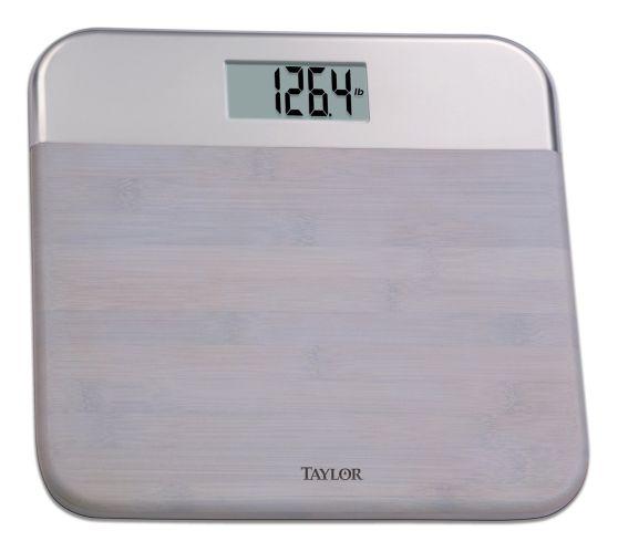 Pèse-personne numérique pour salle de bain, bambou et acier inoxydable Image de l'article