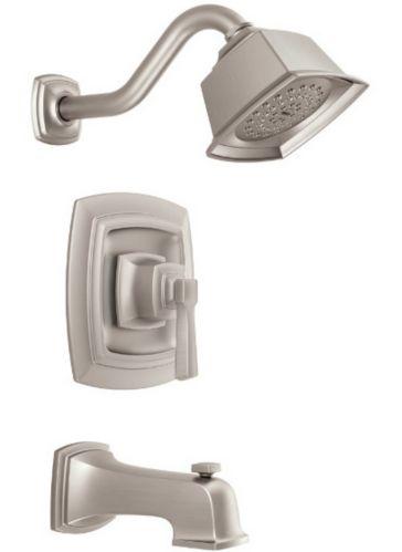 Robinet de bain et douche Moen Boardwalk, 1 levier, nickel brossé résistant aux taches Image de l'article