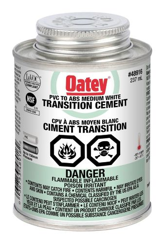 Oatey Transition ABS/PVC Cement, White, 237-mL Product image