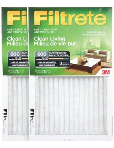 Filtre pour réduction de la poussière 3M Filtrete, milieu de vie pur, MPR 600, 16 x 25 x 1 po, paq. 2 Image de l'article