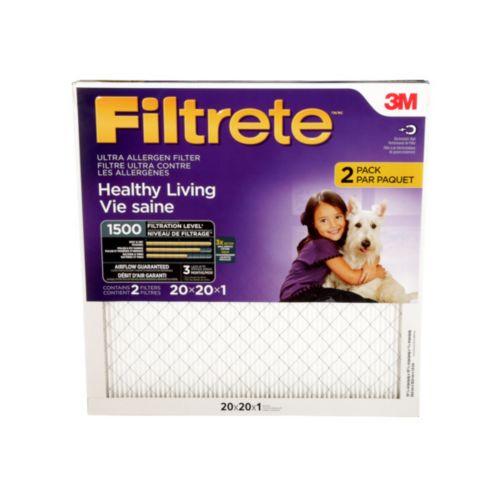 Filtre ultra pour réduction des allergènes 3M Filtrete, vie saine, MPR 1500, 20 x 20 x 1 po, paq. 2 Image de l'article